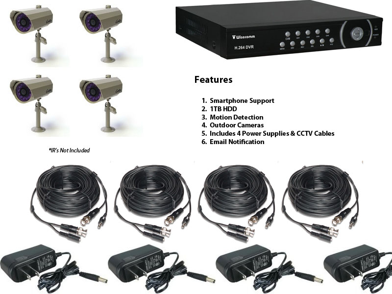 4 Channel Surveillance System With Outdoor Cameras And Smartphone Support